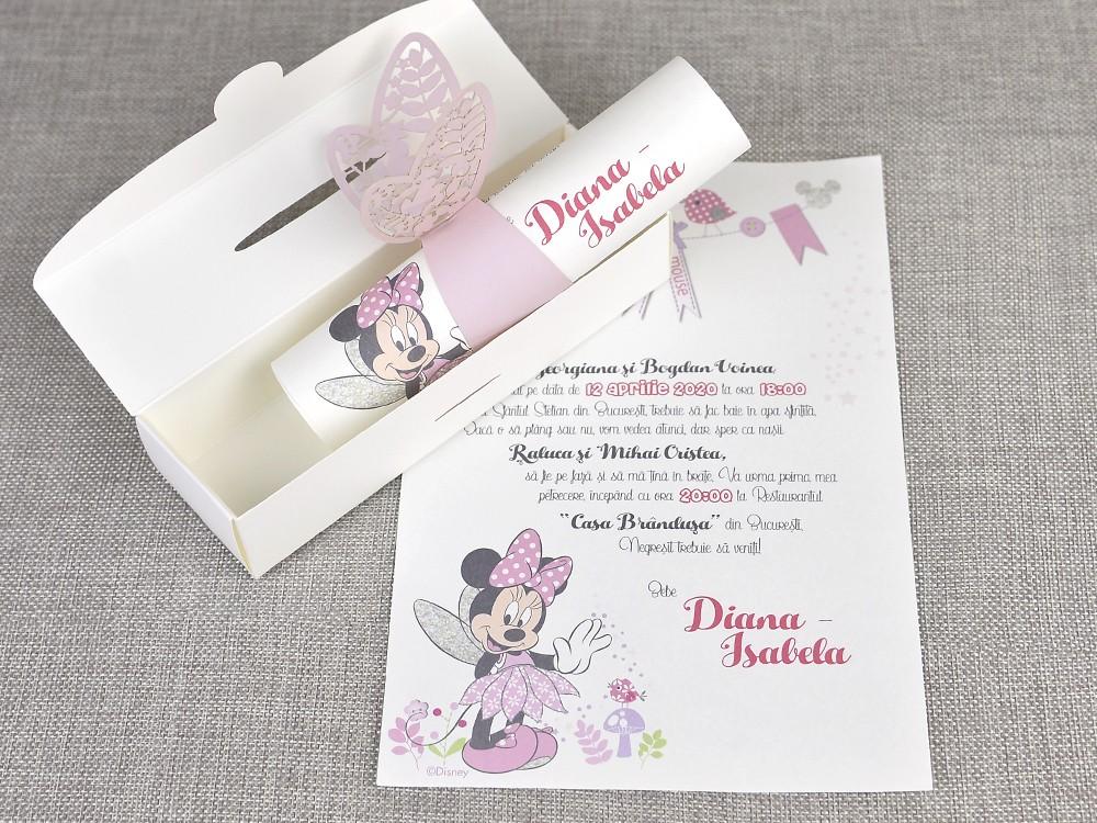 Invitatii Botez Colectia Disney Invitatie Botez Minnie Fluturas