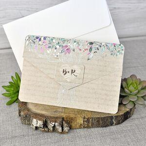 Invitatie de nunta cu elemente florale cod 39303