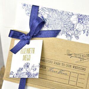 Invitatie de nunta cu decoratiuni florale cod 39325