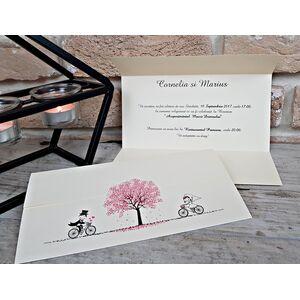 Invitatie de nunta cu biciclete cod 2714