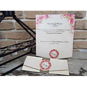 Invitatie nunta cu motive florale cod 2719