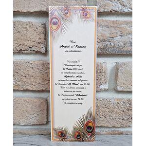 Invitatie nunta cu pene de paun cod 2757