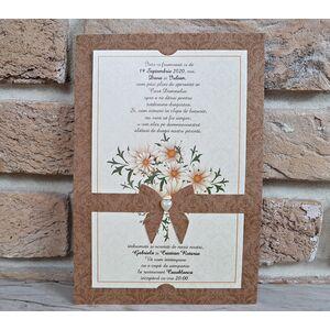 Invitatie nunta cu buchet de flori albe cod 2763