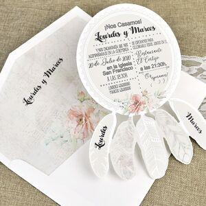 """Invitatie nunta """"dreamcatcher"""" cu elemente florale cod 39633"""