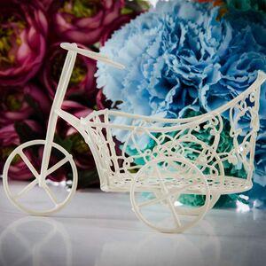 Bicicleta sarma crem cu cos mare rotund cu model floral