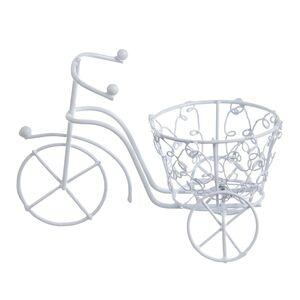 Bicicleta din sarma alba cu cos cu model