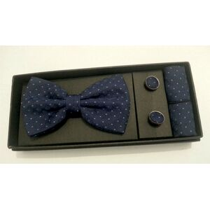 Papion, butoni si batista albastru inchis cu model