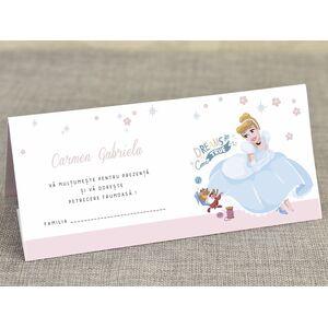 Card de masa/plic de bani botez 'Cenusareasa in caleasca' cod 5713