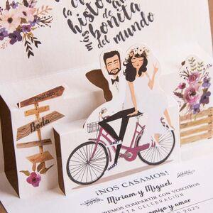 Invitatie nunta 3d bicicleta cod 39829