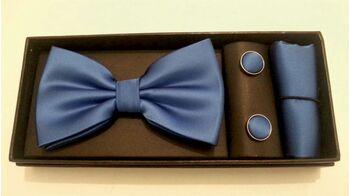 Papion, butoni si batista albastru
