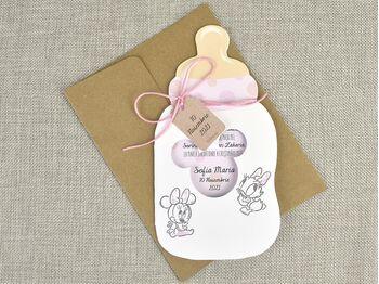 Invitatie botez biberon Baby Minnie cod 15716